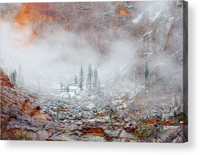 Landscape Acrylic Print featuring the photograph Snow In Zion National Park, Utah by Buddyhawkins