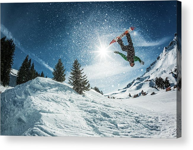 People Acrylic Print featuring the photograph Snowboarder Doing A Backflip With Snow by © Francois Marclay