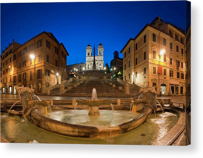 Steps Acrylic Print featuring the photograph Spanish Steps Piazza Di Spagna Fontana by Fotovoyager