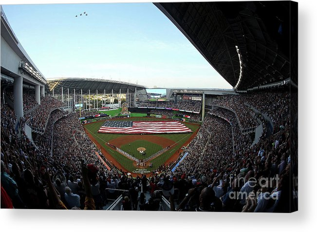 Viewpoint Acrylic Print featuring the photograph St Louis Cardinals V Miami Marlins by Sarah Crabill