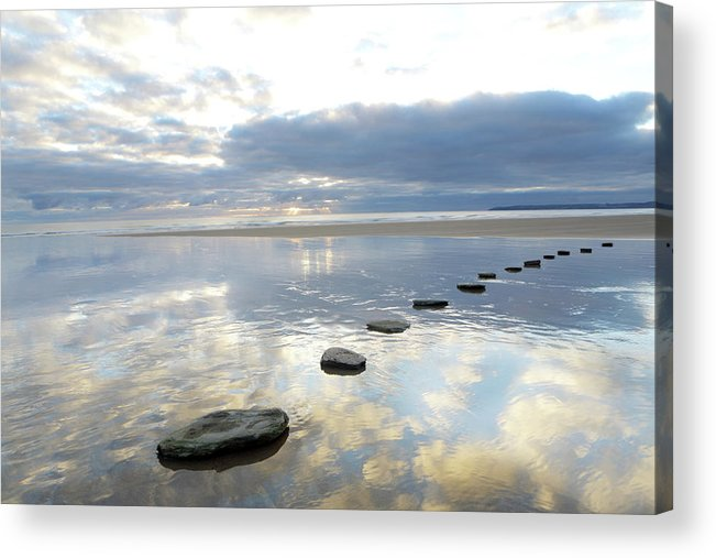 Tranquility Acrylic Print featuring the photograph Stepping Stones Over Water With Sky by Peter Cade