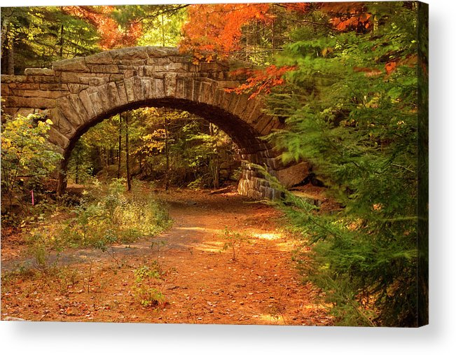 Scenics Acrylic Print featuring the photograph Stone Bridge, Part Of Carriage Roads by Danita Delimont