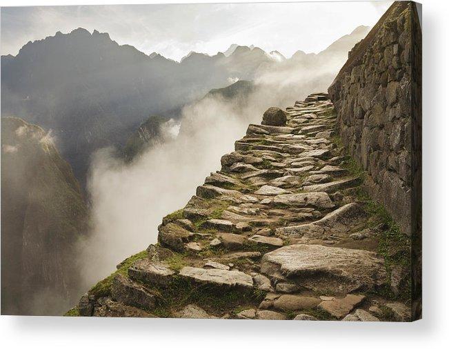 Machu Picchu Acrylic Print featuring the photograph Stone Inca Trail by David Madison