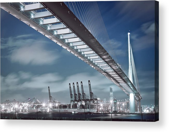 Built Structure Acrylic Print featuring the photograph Stonecutters And Container Terminal by Andi Andreas