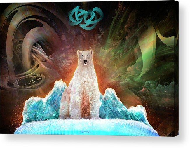 Stranded Polar Bear Acrylic Print featuring the painting Stranded Polar Bear by Mushroom Dreams Visionary Art