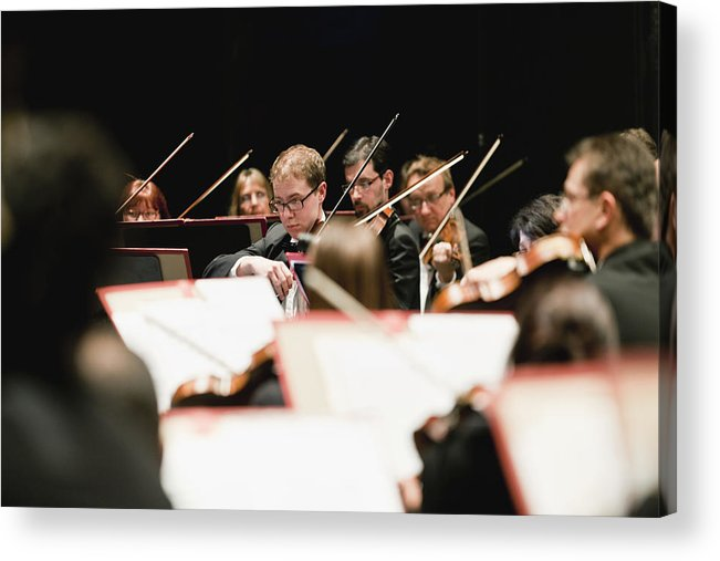 Young Men Acrylic Print featuring the photograph String Section In Orchestra by Hybrid Images