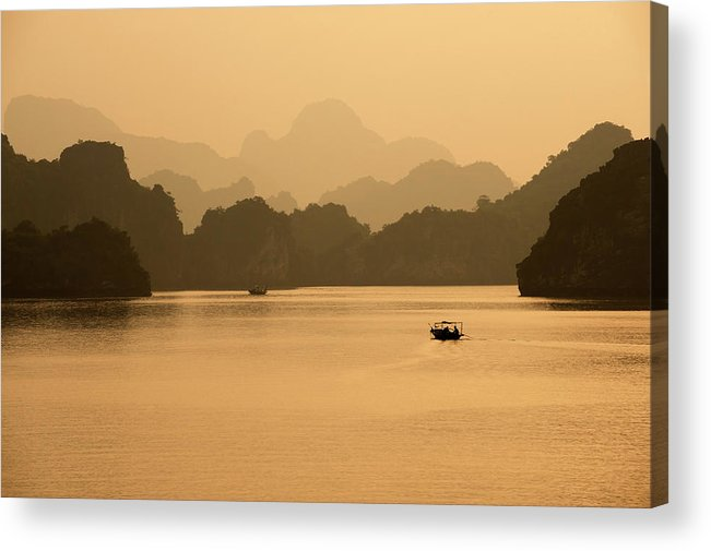 Halong Bay Acrylic Print featuring the photograph Sunset, Halong Bay, Vietnam by Yellow Dog Productions