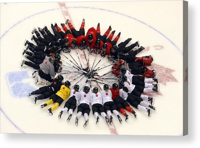 Rogers Arena Acrylic Print featuring the photograph Sweden V Finland by Bruce Bennett
