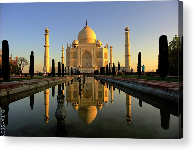 Clear Sky Acrylic Print featuring the photograph Taj Mahal by Tayseer Al-hamad