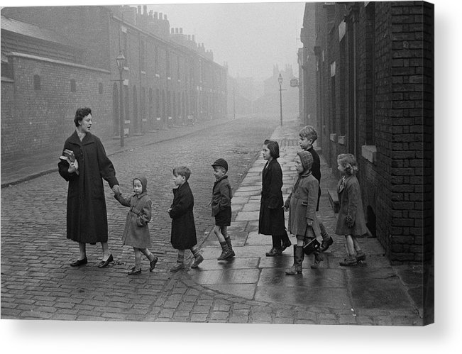 Following Acrylic Print featuring the photograph Teacher And Pupils In Manchester by Bert Hardy