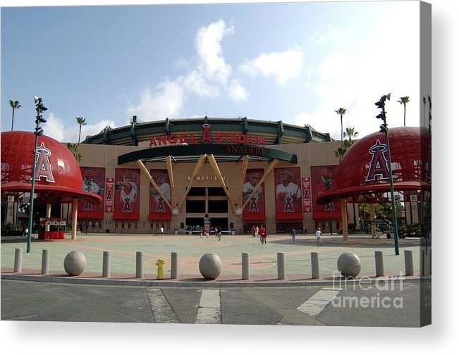 American League Baseball Acrylic Print featuring the photograph Texas Rangers V Los Angeles Angles Of by Mlb Photos