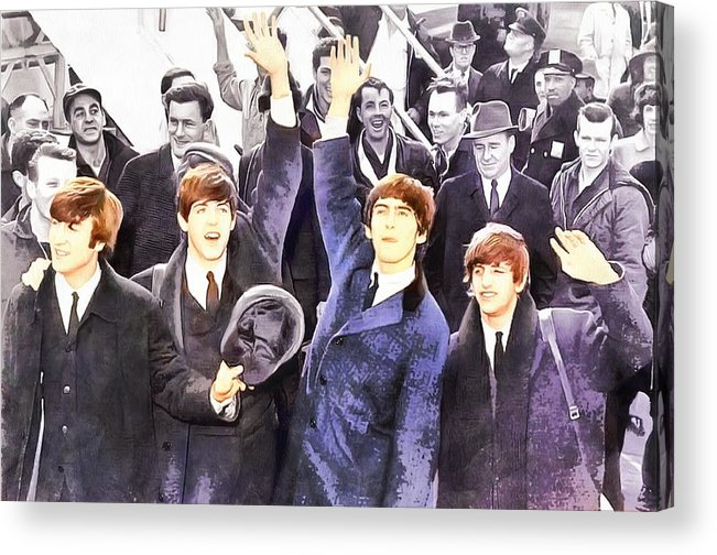 Abstract Acrylic Print featuring the photograph The Beatles 1964 Arrival In New York - A Watercolor by Robert Kinser