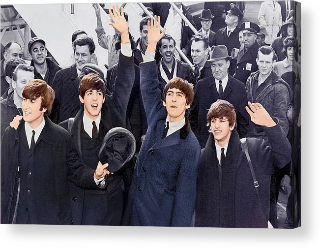 Abstract Acrylic Print featuring the photograph The Beatles 1964 Arrival In New York by Robert Kinser