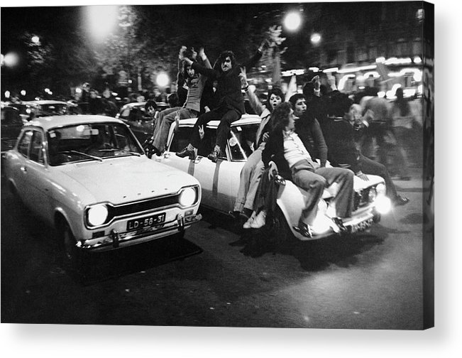 The End Acrylic Print featuring the photograph The Carnation Revolution In Lisbon by Herve Gloaguen
