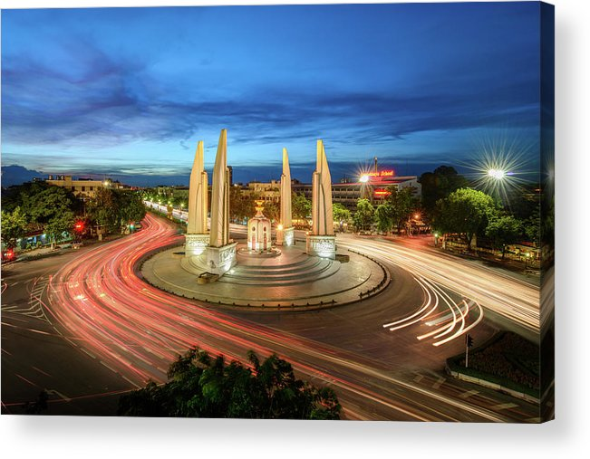 Built Structure Acrylic Print featuring the photograph The Democracy Monument by Thanapol Marattana