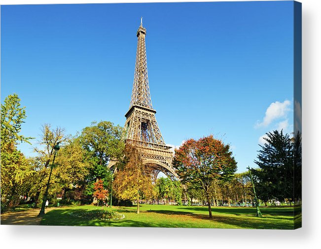 Clear Sky Acrylic Print featuring the photograph The Eiffel Tower With Some Autumnal by Tom Bonaventure
