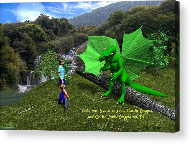Acrylic Print featuring the digital art There Be Dragons by Bob Shimer