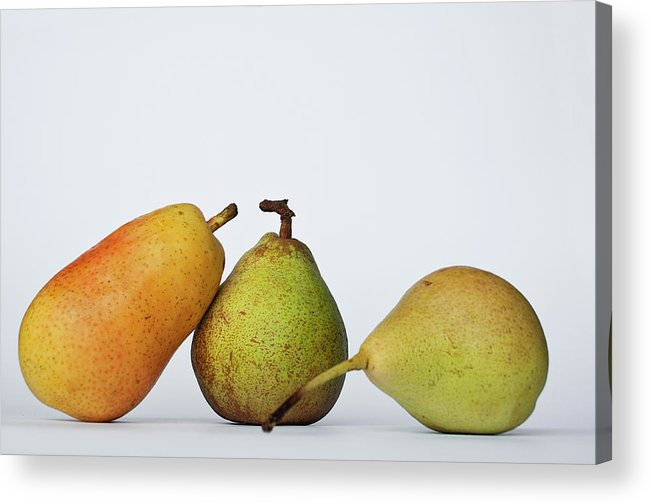 Healthy Eating Acrylic Print featuring the photograph Three Diferent Pears Isolated On Grey by Irantzu Arbaizagoitia Photography
