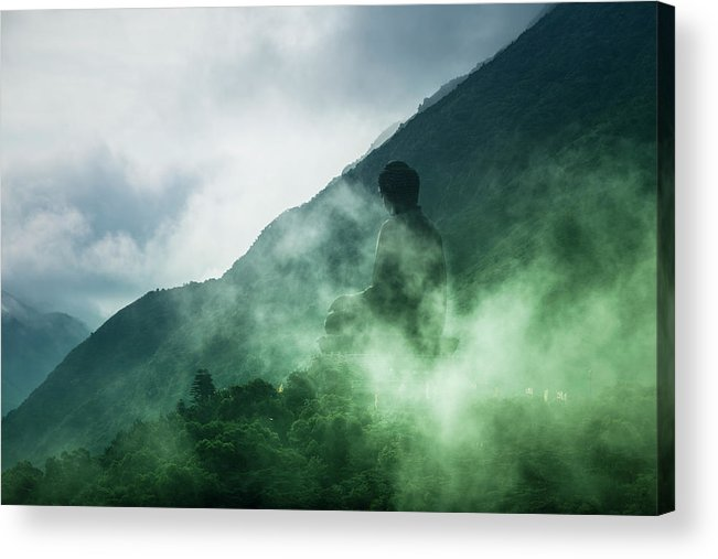 Chinese Culture Acrylic Print featuring the photograph Tian Tan Buddha On Hill In Clouds by Merten Snijders