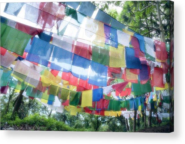 Hanging Acrylic Print featuring the photograph Tibetan Buddhist Prayer Flags by Glen Allison