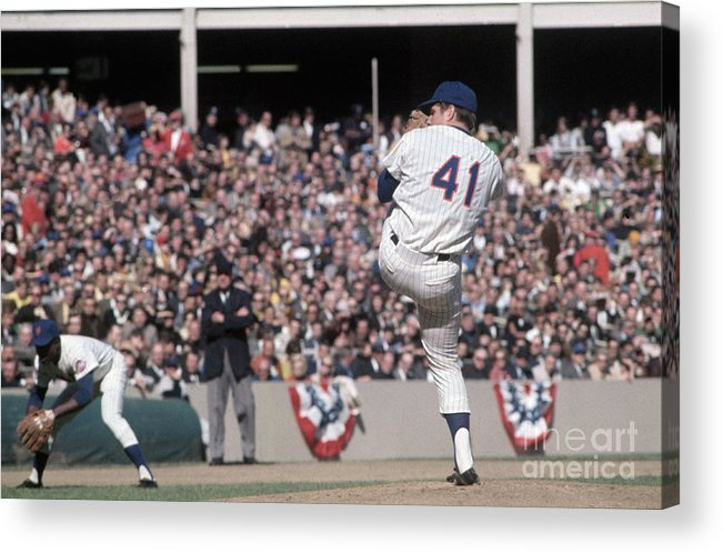 Tom Seaver Acrylic Print featuring the photograph Tom Seaver Pitching During Baseball Game by Bettmann