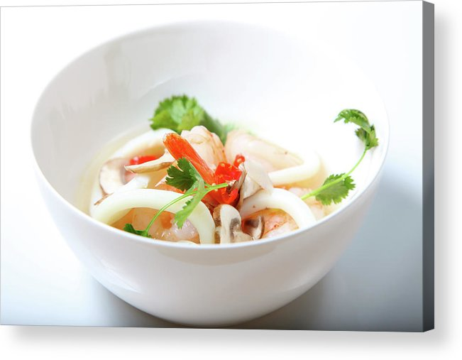 White Background Acrylic Print featuring the photograph Tom Yum Goong, Hot And Sour Soup by Lori Andrews