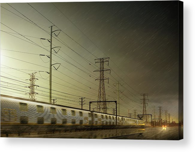 Train Acrylic Print featuring the digital art Train Speeding By Power Lines by Chris Clor
