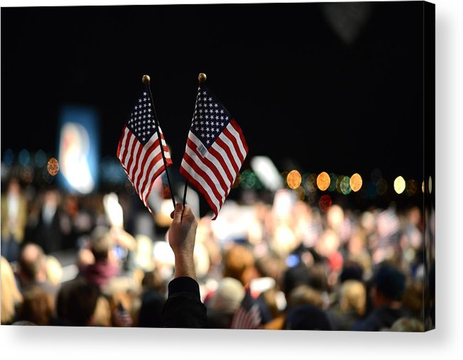 Crowd Acrylic Print featuring the photograph Twin Flags by Mikael Törnwall