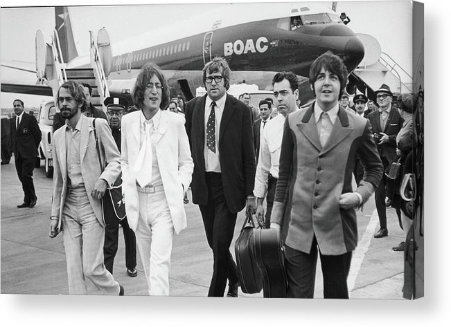 Following Acrylic Print featuring the photograph Two Beatles Arrive In New York by Fred W. McDarrah