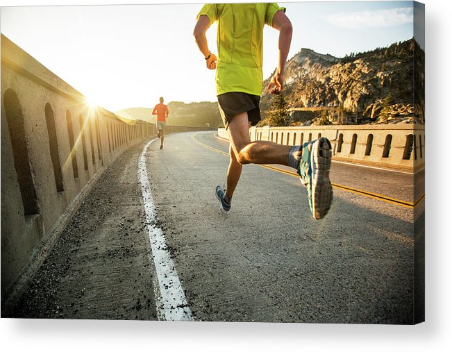 Scenics Acrylic Print featuring the photograph Two Men On An Early Morning Run by Jordan Siemens