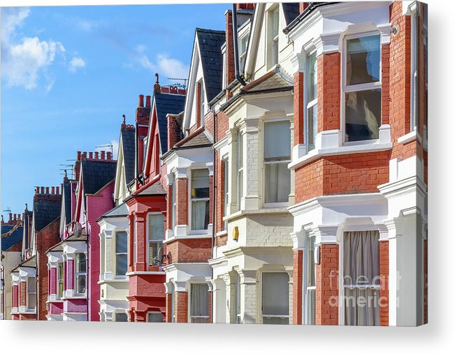 Row House Acrylic Print featuring the photograph Typical English Terraced Houses In West by Victorhuang
