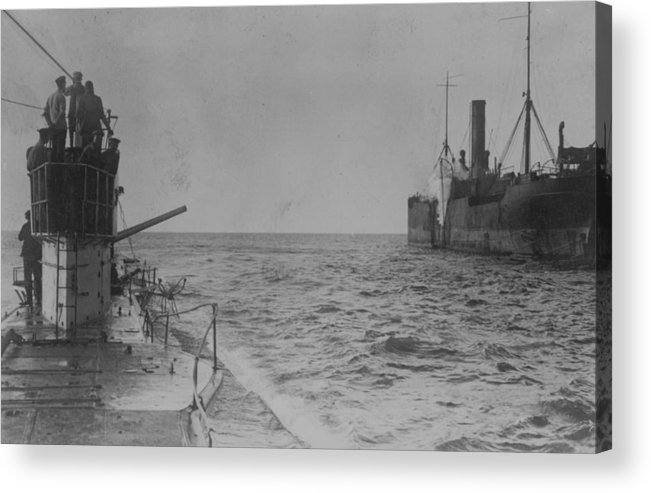 Container Ship Acrylic Print featuring the photograph U-boat Attack by Hulton Archive