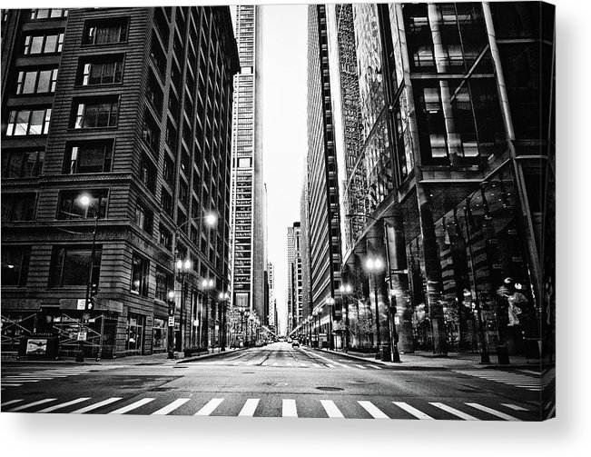 Crosswalk Acrylic Print featuring the photograph Urban Chicago City Intersection Of by Nicole Kucera