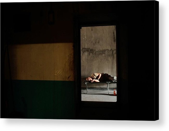 Sand Trap Acrylic Print featuring the photograph U.s. Army Builds Miltary Outpost In by Chris Hondros