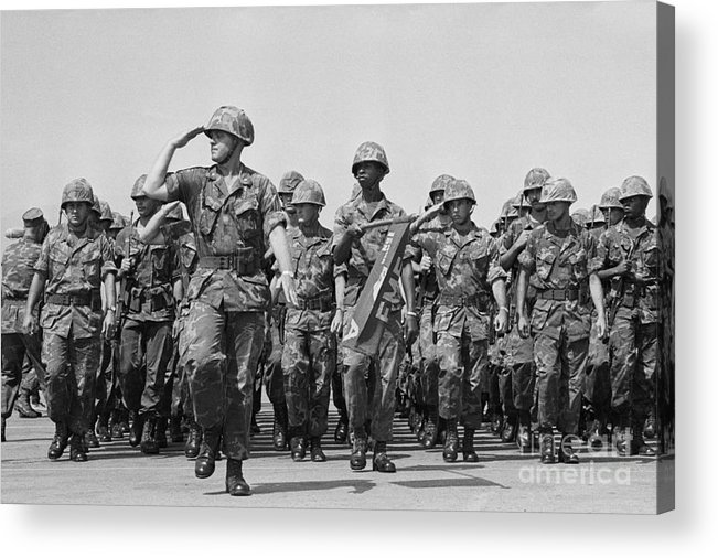Marching Acrylic Print featuring the photograph U.s. Marines Marching In Review by Bettmann