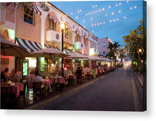 In A Row Acrylic Print featuring the photograph Usa, Florida, Miami Beach. Restaurant by Buena Vista Images
