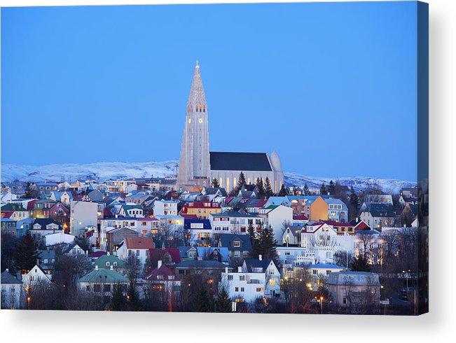 Snow Acrylic Print featuring the photograph View Of Hallgrimskirkja Church by Travelpix Ltd
