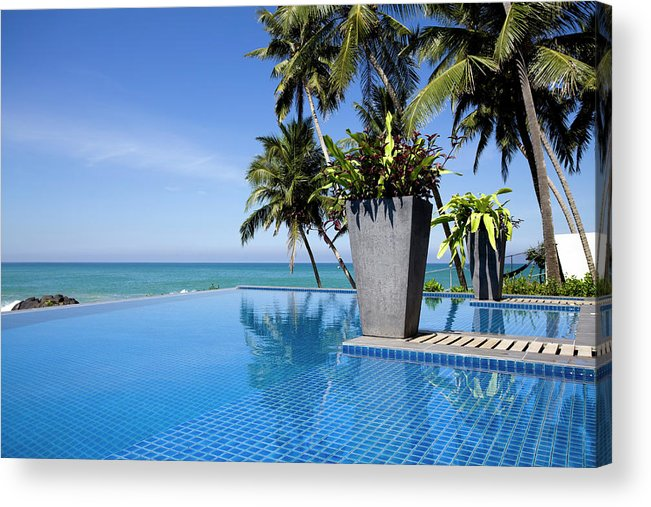 Empty Acrylic Print featuring the photograph Villa Hotel Swimming Pool Sri Lanka by Laughingmango