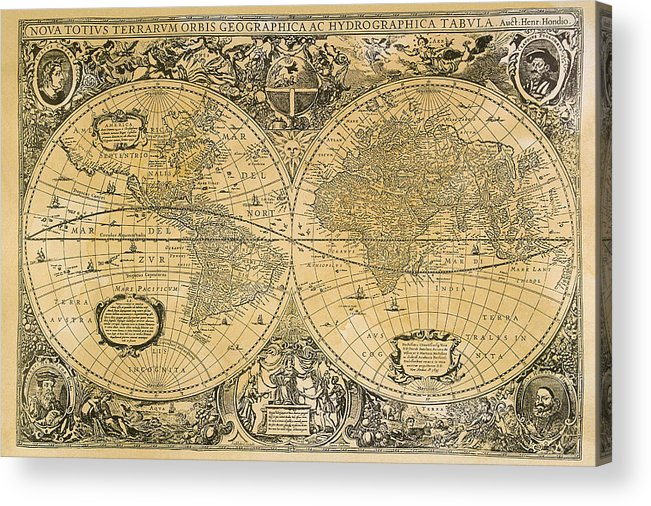 Latitude Acrylic Print featuring the digital art Vintage Map Of The World by Comstock