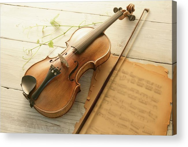 Sheet Music Acrylic Print featuring the photograph Violin And Music Sheet by Image Work/amanaimagesrf