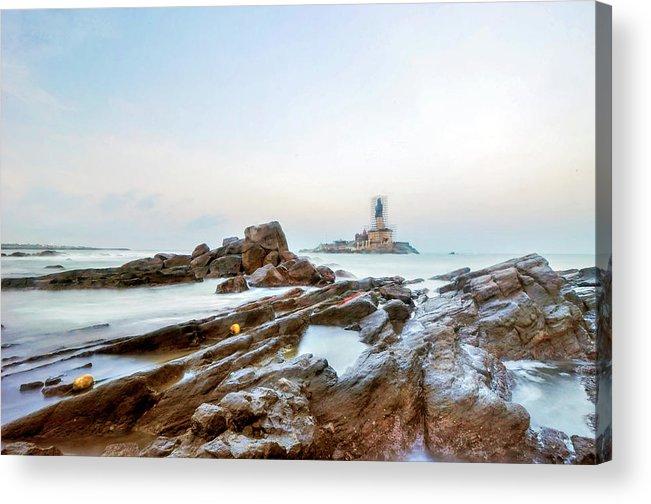 Statue Acrylic Print featuring the photograph Vivekanandar Rock & Thiruvalluvar by Yesmk Photography