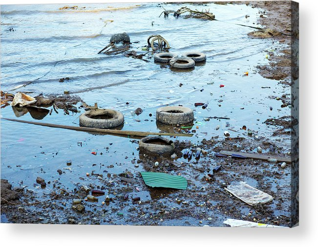 Water's Edge Acrylic Print featuring the photograph Water Pollution by Drbouz