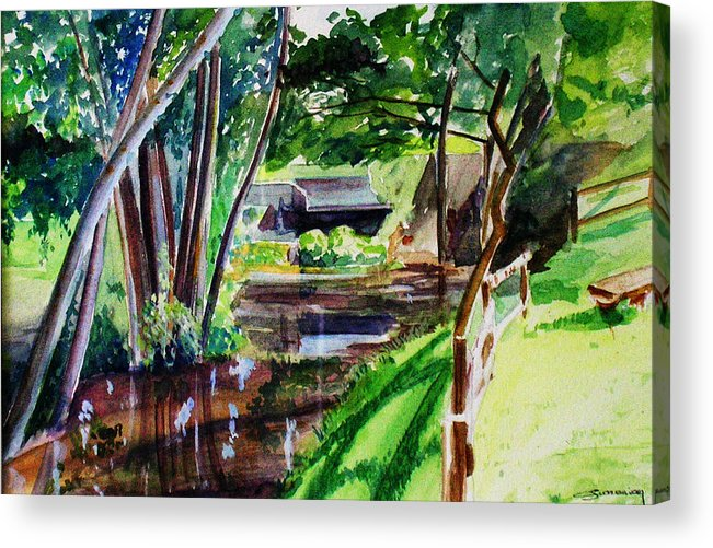 Watermill Acrylic Print featuring the painting Watercolor Of The Watermill Of Gemage by Christian Simonian