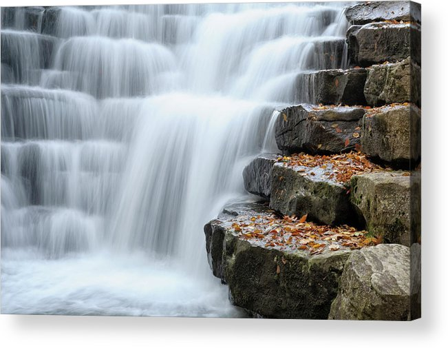 Steps Acrylic Print featuring the photograph Waterfall Flowing Over Rock Stair by Catnap72