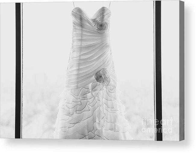 Hanging Acrylic Print featuring the photograph Wedding Dress In Black Frame by Matt Corkum