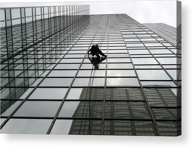 Working Acrylic Print featuring the photograph Window Washer by Filo