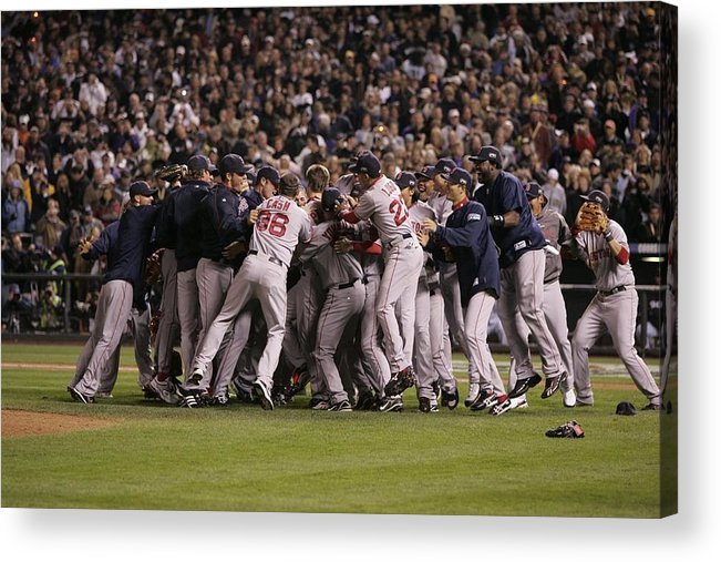 Celebration Acrylic Print featuring the photograph World Series Boston Red Sox V Colorado by Rich Pilling