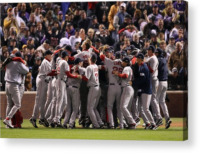 Scoring Acrylic Print featuring the photograph World Series Boston Red Sox V Colorado by Stephen Dunn