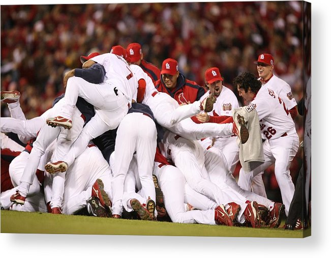 Following Acrylic Print featuring the photograph World Series Game 5 St. Louis Cardinals by Rich Pilling