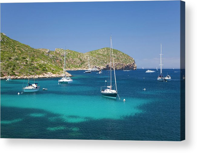 Outdoors Acrylic Print featuring the photograph Yachts At Anchor In Cabreras Sheltered by David C Tomlinson